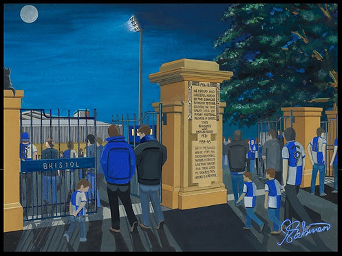 Bristol Rovers F.C, Memorial Ground Stadium High Quality framed Giclee Art Print