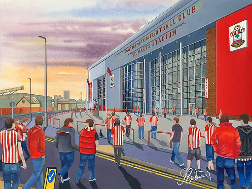 Southampton F.C, St. Mary's Stadium High Quality Framed Giclee Art Print