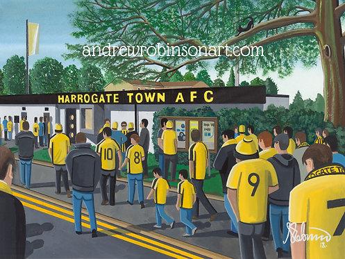 Harrogate Town A.F.C, Wetherby Road stadium Framed High Quality Art Print