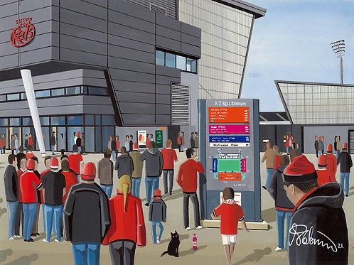Salford Red Devils, A.J Bell Stadium Framed High Quality Art Print