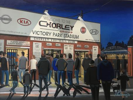 Disembark at Victory Park. Chorley Town F.C Victory Park Stadium.