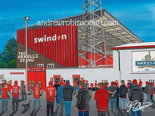 Swindon Town F.C County Ground Stadium High Quality Framed Art Print