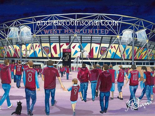 West Ham United F.C, London Stadium High Quality Framed Giclee Art Print