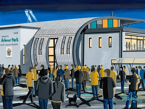 Slough Town F.C, Arbour Park Stadium. Framed High Quality Art