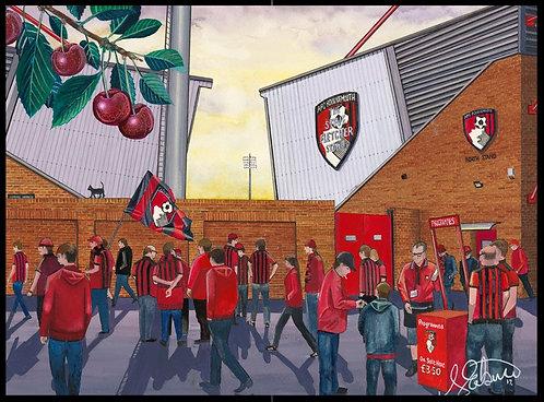 A.F.C Bournemouth, Deancourt Stadium High Quality Framed Giclee Art Print
