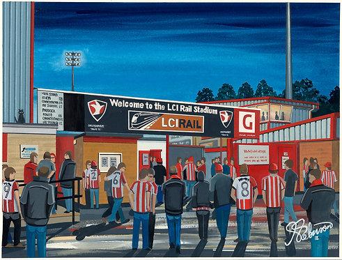 Cheltenham Town FC LCI Rail Stadium High Quality Framed Print