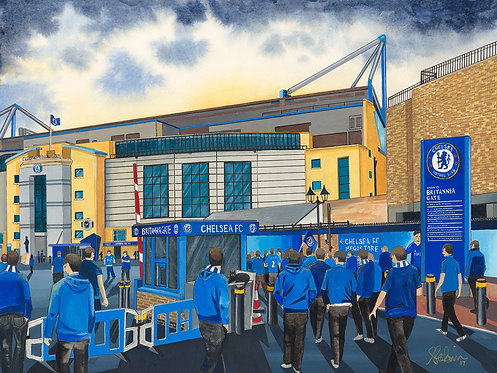 Chelsea F.C, Stamford Bridge Stadium High Quality Framed Giclee Art Print