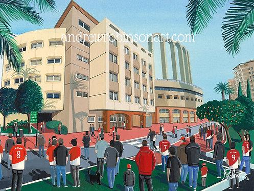 Monaco Stade Louis III Framed High Quality Art Print