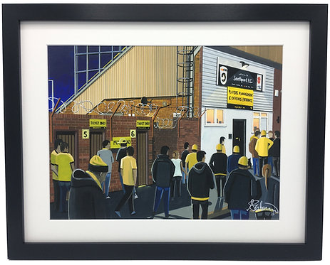 Southport F.C, Haig Avenue Stadium. Framed High Quality Art Print