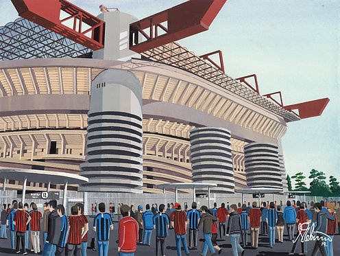 AC milan & Inter Milan San Siro stadium Framed High Quality Art Print