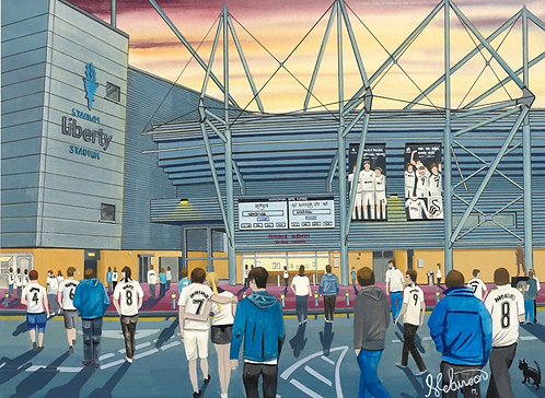 Swansea City F.C, Liberty Stadium High Quality Framed Giclee Art Print