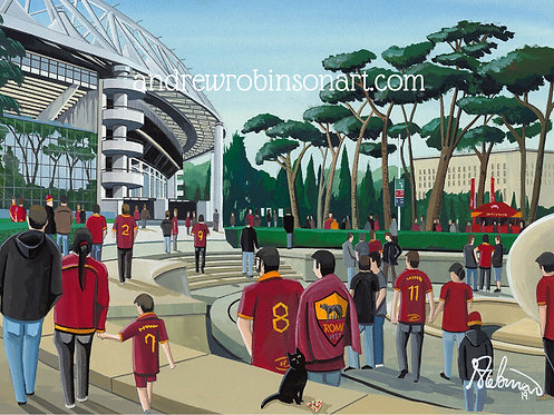 Roma, Stadio Olimpico. Framed High Quality Art P