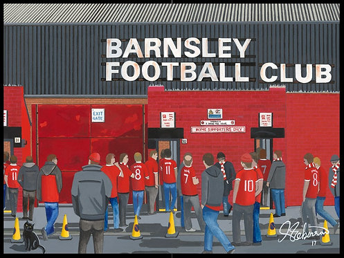 Barnsley F.C, Oakwell Stadium High Quality framed Artists Proof Print