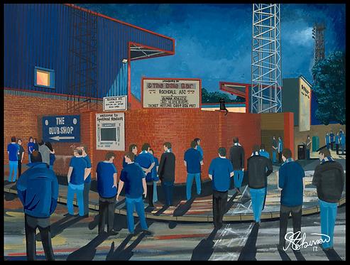 Rochdale A.F.C,  Spotland Stadium High Quality framed Artists Proof Print