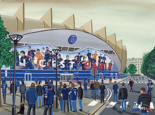 Paris Saint-Germain. Parc Des princes Stadium. Framed High Quality Art Print