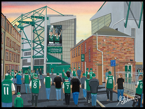 Hibernian F.C, Easter Road Stadium High Quality Framed Giclee Art Print