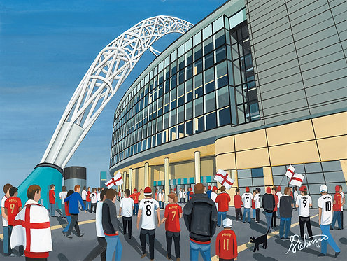 England National Team, Wembley Stadium High Quality framed Giclee Art Print