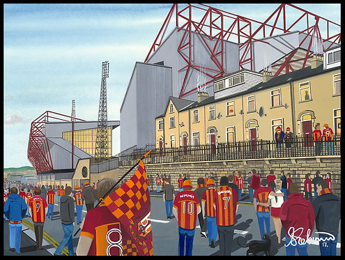 Bradford City F.C, Valley Parade Stadium High Quality Framed Giclee Art Print