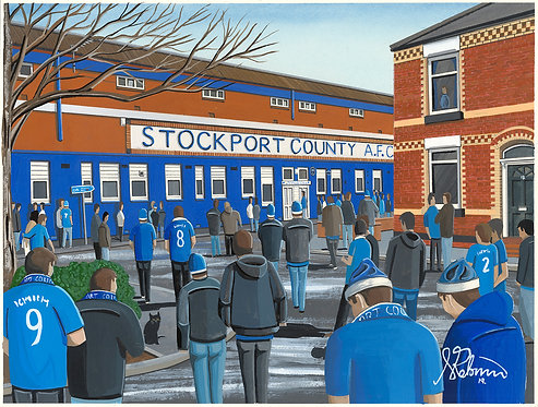 Stockport County A.F.C Edgeley Park High Quality Framed Giclee Art Print
