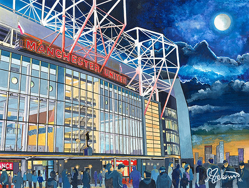 Manchester United F.C, Old Trafford Stadium High Quality Framed Giclee Art Print