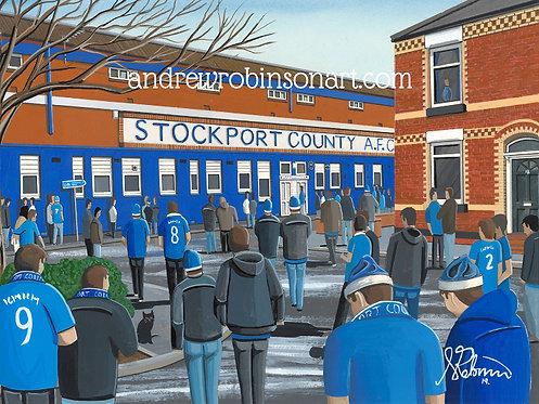 Stockport County A.F.C Edgeley Park High Quality Framed Giclee Art Print