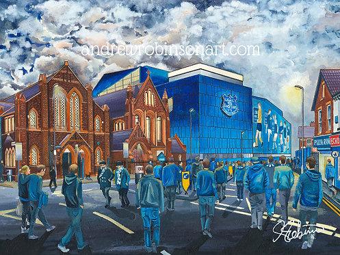 Everton F.C, Goodison Park Stadium High Quality Framed Giclee Art Print