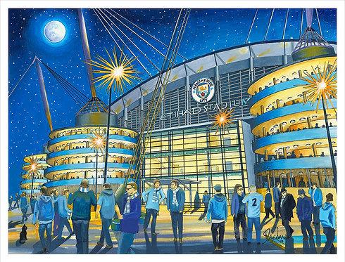 "Manchester City F.C, Etihad Stadium High Quality Art Print (Unframed)16"" x 12"""