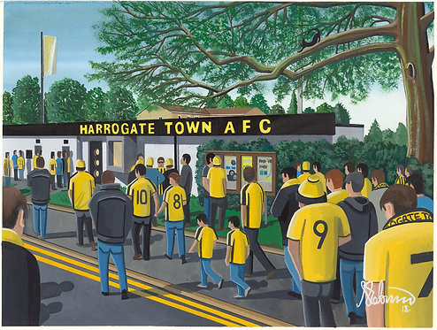 Harrogate Town A.F.C, Wetherby Road stadium Framed High Quality Art Print