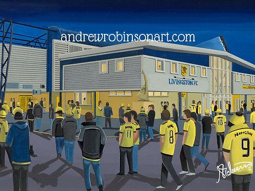 Livingston F.C, Almondvale Stadium Framed High Quality Art Prin