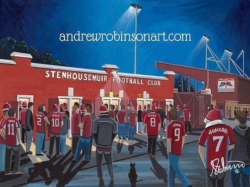 Stenhousemuir F.C, Ochilview Park Stadium. Framed High Quality Art P
