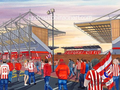 Stoke City F.C, Bet 365 Stadium High Quality Framed Giclee Art Print