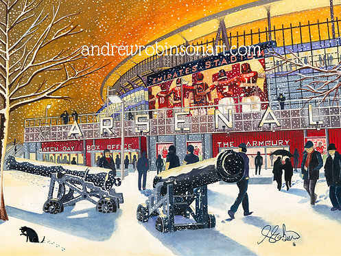 "Arsenal F.C, Emirates Stadium High Quality Giclee Art Print (Unframed)16"" x 12"""