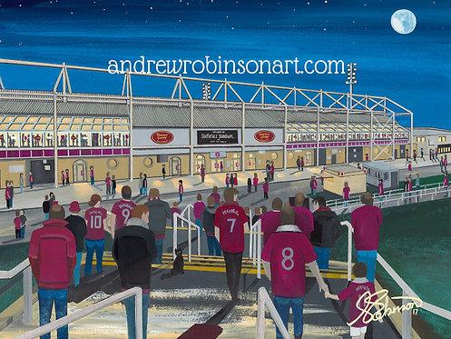 Northampton Town F.C Sixfields Stadium High Quality Framed Artists Proof Print