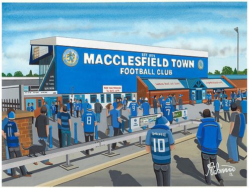 Macclesfield Town F.C Moss Rose Stadium High Quality Framed Artists Proof Print