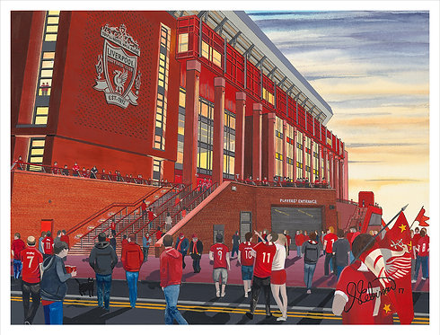 "Liverpool F.C, Anfield Stadium High Quality Giclee Art Print (Unframed)16"" x 12"""
