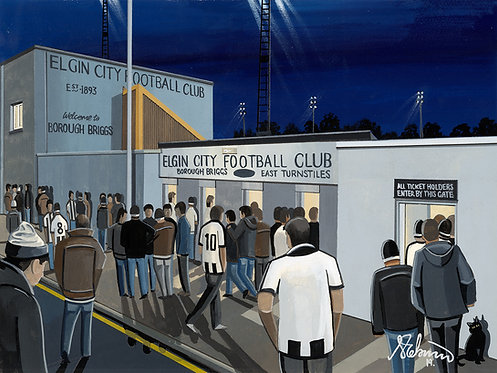 Elgin City F.C Borough Briggs Stadium Stadium Framed High Quality Art