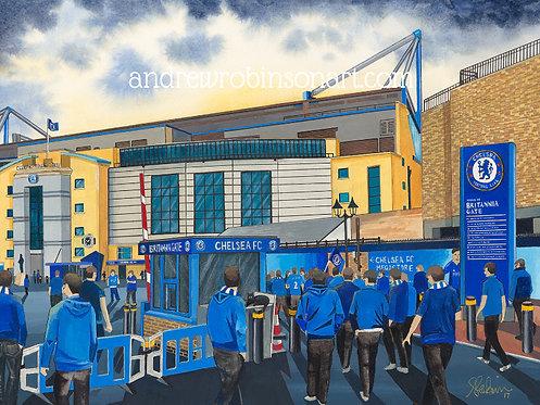 Chelsea F.C, Stamford Bridge Stadium High Quality Framed Giclee Art Print