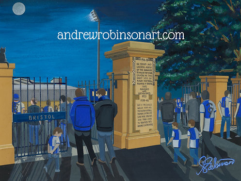 Bristol Rovers F.C, Memorial Ground Stadium High Quality framed Giclee Art Print
