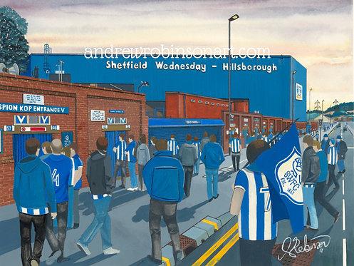 Sheffield Wednesday F.C, Hillsborough Stadium High Quality Framed Art Print