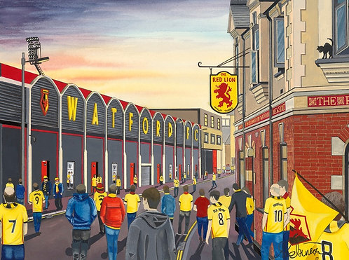 Watford F.C, Vicarage Road Stadium High Quality Framed Giclee Art Print