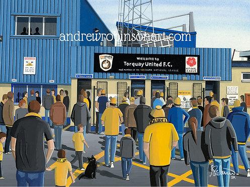 Torquay Utd, Plainmoor Stadium Framed High Quality Art Print