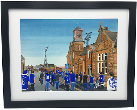 Queen Of The South, Palmerston Park Stadium. Framed High Quality Art Print