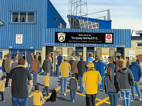 Torquay Utd, Plainmoor Stadium Framed High Quality Art Print