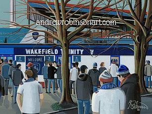 Wakefield Trinity, Belle Vue Stadium. Framed High Quality Art Print