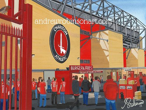 Charlton Athletic F.C, The Valley Stadium High Quality framed Giclee Art Print