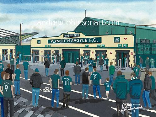 Plymouth Argyle F.C, Home Park Stadium High Quality framed Giclee Art Print