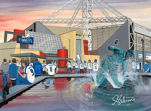 Preston North End F.C, Deepdale Stadium High Quality Framed Giclee Art Print