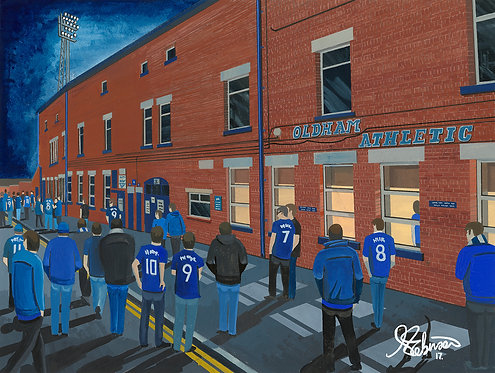 Oldham Athletic F.C, Boundary Park Stadium High Quality framed Giclee Art Print