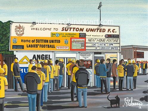 Sutton Utd, Gander Green Lane Stadium Framed High Quality Art Print