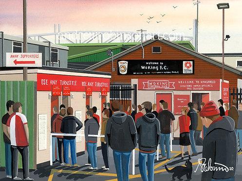 Woking F.C, Kingfield Stadium Framed High Quality Ar
